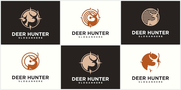 Cacciatore di cervi logo modello di progettazione testa di cervo sagoma vettoriale club di caccia caccia al cervo