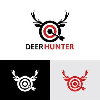 Modello di logo di cacciatore di cervi