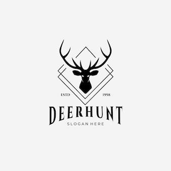 Deer hunter outdoor wildlife logo vector illustration design vintage