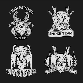 Set di badge vintage cacciatore di cervi