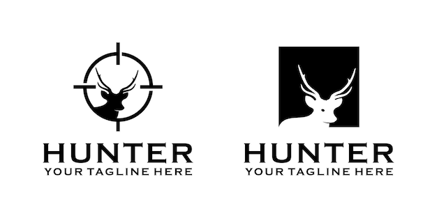 Design del logo vintage cacciatore di cervi