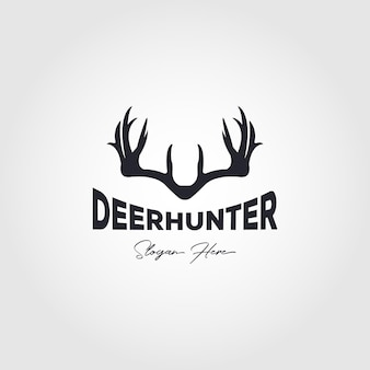 Disegno di illustrazione vettoriale di logo vintage cacciatore di cervi