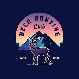 Disegno dell'emblema dell'avventura di caccia al cervo