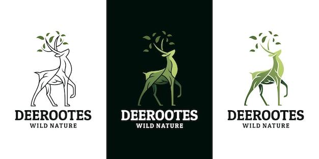 Modello di progettazione del logo dei cervi, radice, foglia, natura.