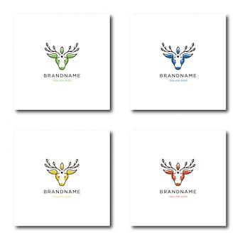 Logo di natura cervi con line art