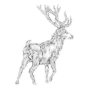 Cervi nel disegno della mano dell'ornamento con dietro la vista