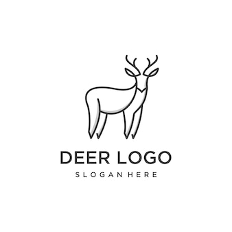 Modello di progettazione di logo di contorno di cervi. logo design cervo premium