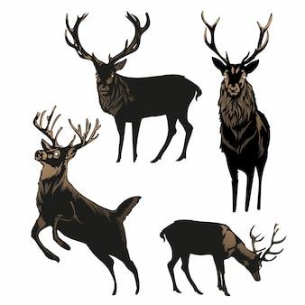 Insieme di vettore della siluetta dei cervi, illustrazione del cervo