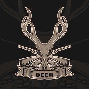 Logo vintage testa di teschio di cervo