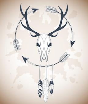 Cranio di cervo con icona di piume