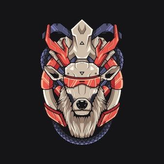 Cervo ultra cyberpunk illustrazione