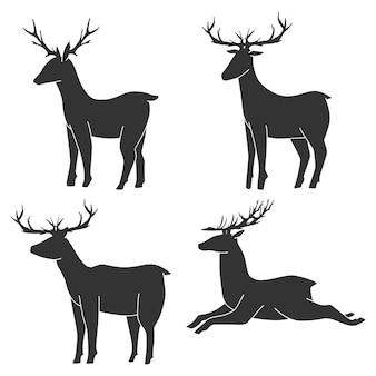 Set di sagome nere di vettore di cervo isolato su sfondo bianco.