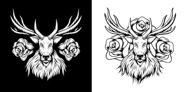 Cervo con disegno di illustrazioni di rose