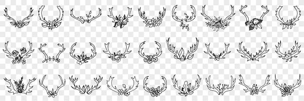 Insieme di doodle di corna di cervo come decorazioni