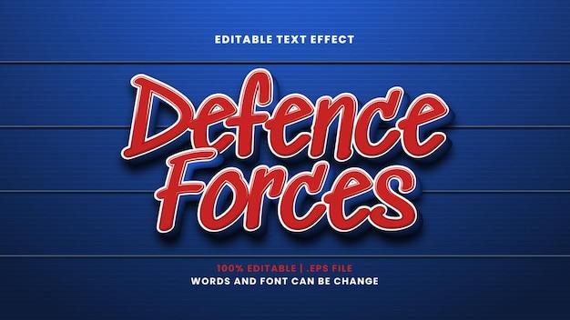 Forze di difesa effetto testo modificabile in moderno stile 3d