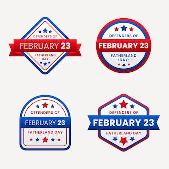 Collezione di badge per i difensori della patria