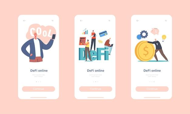 Defi, modello di schermata integrato della pagina dell'app mobile online di finanza decentralizzata. piccoli personaggi di uomini d'affari