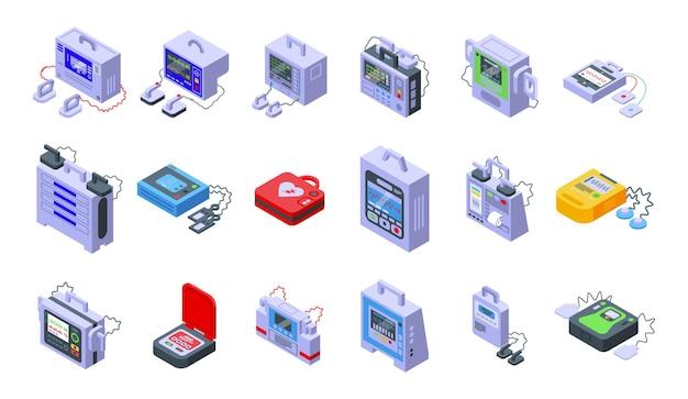 Le icone del defibrillatore hanno impostato il vettore isometrico. soccorso ambulanza. defibrillatore automatico esterno