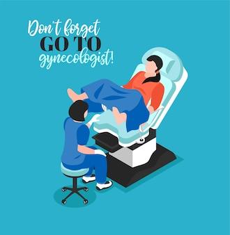Non ritardare la visita all'illustrazione del ginecologo con il medico esamina il paziente femminile in sedia ginecologica
