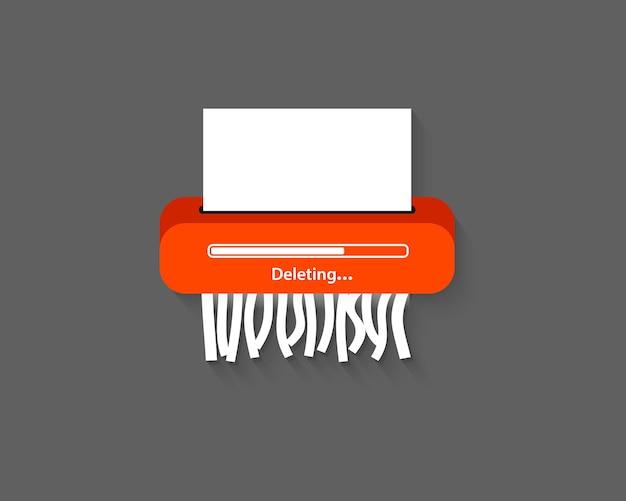 Elimina file o processi di documenti eliminati. elimina icona. rimuovi documento. macchina del distruggidocumenti. pulsante elimina per app web e mobili. stile piatto