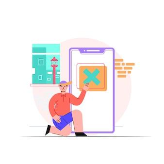 Eliminare la cartella sull'illustrazione del telefono
