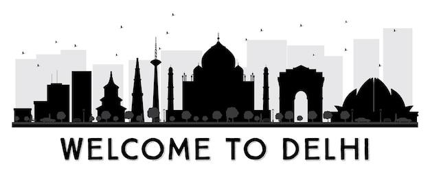 Siluetta in bianco e nero dell'orizzonte della città di delhi. illustrazione di vettore.