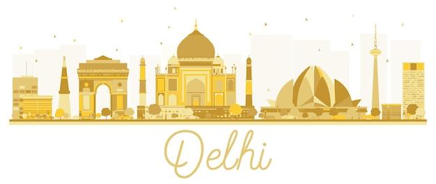 Siluetta dorata dell'orizzonte della città di delhi. illustrazione vettoriale. semplice concetto piatto per presentazione turistica, banner, cartellone o sito web. concetto di viaggio d'affari. paesaggio urbano con punti di riferimento.