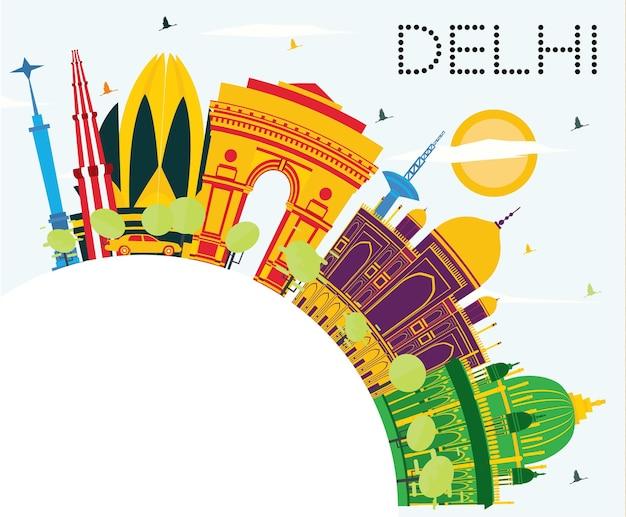 Delhi india skyline con edifici di colore, cielo blu e spazio di copia. illustrazione di vettore. viaggi d'affari e concetto di turismo con architettura storica. paesaggio urbano di delhi con punti di riferimento.