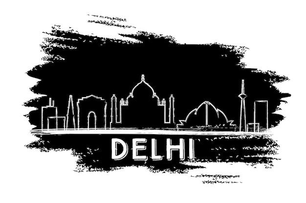 Sagoma dell'orizzonte di delhi. schizzo disegnato a mano. illustrazione di vettore. viaggi d'affari e concetto di turismo con architettura storica. immagine per presentazione banner cartellone e sito web.