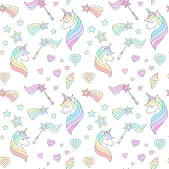 Delicato motivo per bambini con unicorni e altri oggetti su uno sfondo bianco