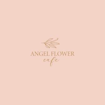 Logo floreale delicato per il negozio di fiori fatto a mano del caffè boutique