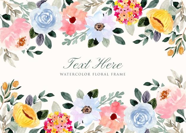 Cornice di sfondo acquerello delicato giardino fiorito