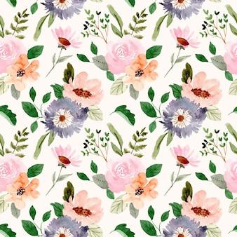 Modello senza cuciture dell'acquerello delicato giardino fiorito