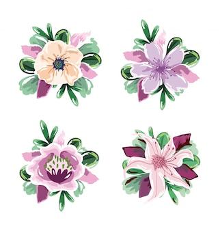 Delicato disegno floreale fogliame natura decorazione floreale