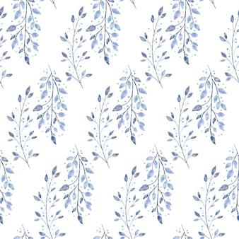 Reticolo senza giunte floreale invernale strutturato retrò acquerello delicato con ramo di albero congelato e neve
