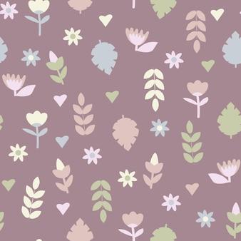 Delicato motivo senza cuciture primaverile ed estivo di foglie verdi e fiori selvatici