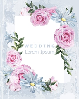Delicato telaio vintage da sposa con fiori di rosa