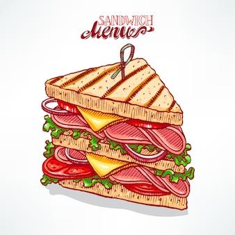 Delizioso panino appetitoso. illustrazione disegnata a mano