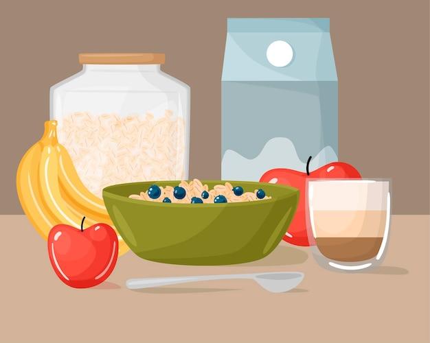 Delizioso cibo per la colazione, design piatto.