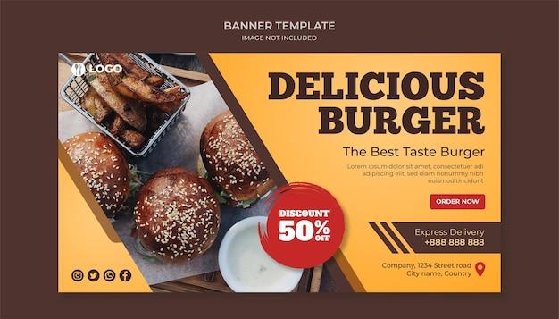 Modello di banner delizioso hamburger per ristorante fast food