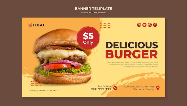 Modello di banner di cibo delizioso hamburger per ristorante fast food