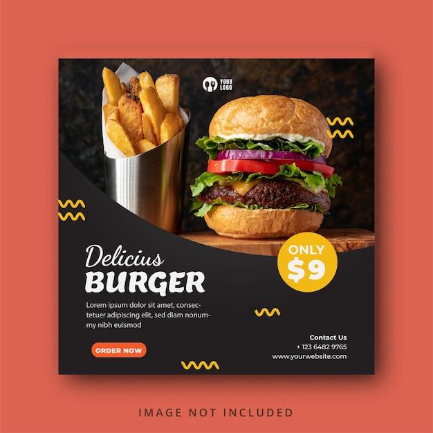 Delizioso modello di banner per social media con menu di hamburger e cibo