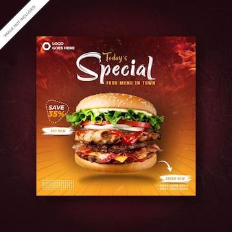 Delizioso modello di menu di hamburger e cibo per la promozione sui social media