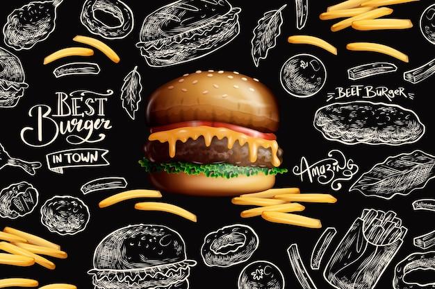 Hamburger e patatine fritte deliziosi