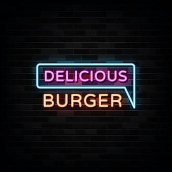 Deliziosa insegna al neon di hamburger