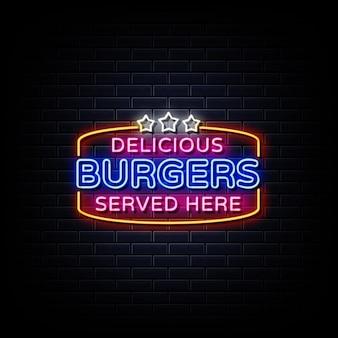 Testo di stile di insegne al neon delizioso hamburger