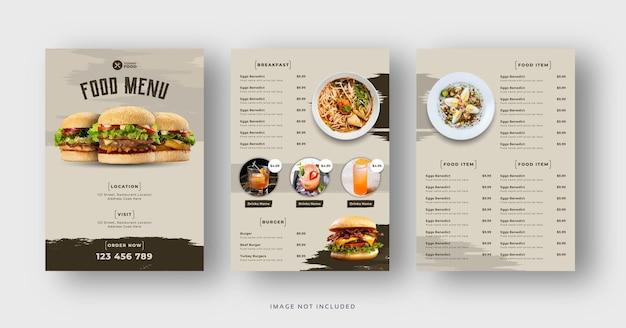 Delizioso hamburger e volantino del menu del cibo del ristorante