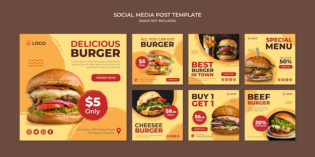 Modello di post instagram social media delizioso hamburger per ristorante fast food