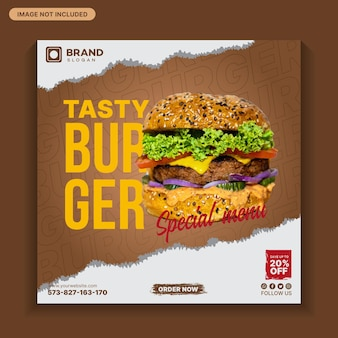 Delizioso post sui social media di hamburger, post sui social media alimentari, menu di cibo, modello di cibo40