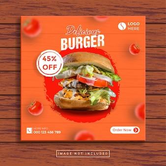Modello di post sui social media di hamburger delizioso